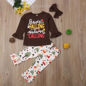 Fall - Autumn Seasonal Girls 3pc Matching Set